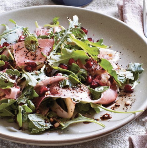 Granaatappel, prosciutto, ruccola en balsamico salade